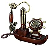 CMMWA Home Festnetztelefon Festnetz Europäische Pastorale Retro Handwerk Massivholz Antike Telefon Tuch Seil Freisprechfreie alte Anrufer ID Home Telefon Festnetz