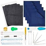NBEADS Sashiko Stickset mit Polycotton-Fäden und Eisennahttrenner & Gobelin-Nadeln & Nähwerkzeuge für DIY Stickmuster, 24-teilig