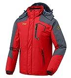 donhobo Herren Winter wasserdichte Winddichte Winterjacke Warme Fleece-Futter Ski Jacken Regenmantel mit Kapuze Rot M