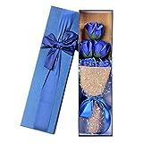 Andouy Seife Blume Duftende Badeseife, Blumenstrauß in Geschenkbox zum Jahrestag Geburtstag Hochzeit Muttertag Valentinstag(36x10x5.5cm.Blau-1)