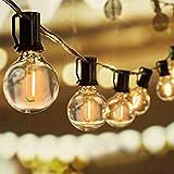 Svater Lichterkette Außen,11m 20 Glühbirnen LED G40 Glas Bulbs Garten Lichterkette Terrasse außerhalb,IP45 Wasserdichte Retro Beleuchtung für Innen/Außen Lichterketten,Party,Hochzeit,W