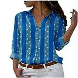Yowablo Hemd Bluse Frauen Mode Langarm Button Dot Dot Striped Print Casual Tops (XXL,4Blau)