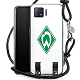 DeinDesign Carry Case kompatibel mit Oppo A73 5G Hülle mit Kordel aus Leder Handykette zum Umhängen schwarz Silber Logo Offizielles Lizenzprodukt SV Werder Bremen