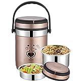 MYYU Speisebehälter Lunchbox Edelstahl Isolierbehälter Speisebehälter Essensbehälter Warmhaltebox für Essen und Flüssigkeiten Thermobehälter,Gelb,2.0L