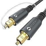 Optisches Kabel, Digital Audiokabel Toslink, WARRKY 1,8m [24K Vergoldet Stecker, Nylon Geflochten] Digital Audio Kabel, Kompatibel mit Stereoanlage, TV, Soundbar, Heimkino, Xbox One, PS4
