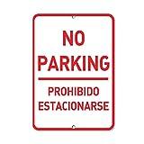 Inga Parkschild mit Aufschrift 'No Parking Prohibido Estacionar?SE', Vintage, Metallschild, 20,3 x 30,5 cm