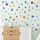 WandSticker4U®- 67x Aquarell Bunte Sterne zum Kleben I Wandtattoo Sterne Kinderzimmer Aufkleber Kinder I Wandsticker Sternenhimmel selbstklebend I Deko für Wand und Möbel Mädchen & Junge