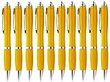 StillRich Industries Ergonomischer Kugelschreiber 10 Stück – Premium Kulli sorgt für einfaches & weiches Schreiben – Blauschreibender Kugelschreiber als optischer Hingucker(gelb)
