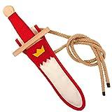 Schwertset Landsknecht weiß/rot aus Buchenholz 30cm (950) – Spielzeugmanufaktur Vah [Made in Germany | traditionelles Handwerk]