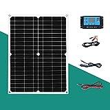 YSNUK 5V 18V Solarpanel 25W 50W Batterie 12 Volt Tragbare monokristalline Zelle Solarplatte USB-Ladegerät Mobile Autobatterie (Color : 25W solar kit 2)