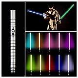 NENGGE Jedi Sith Schweres Duell RGB Lichtschwerter 11 Farben Force FX Lichtschwert Mit Stimme Metall Aluminium Griff LED Lichtschwert,USB Charging,Silber,39.37in