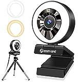 Pasavant 1080P Webcam mit Mikrofon, Ringlicht und Stativ für PC Live-Streaming, Full HD Kamera USB Plug & Play Facecam für Videokonferenzen, Online Unterricht, Zoom, Skype (Weiß/Warmes Licht)