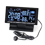 TOTMOX Multifunktionale Auto-Uhr – 12 V/24 V Digitales LCD-Display Auto Thermometer Wecker – Auto Thermometer 120 x 60 x 20 mm