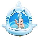 Weokeey Planschbecken für Kinder, Hai Baby Pool mit Dach als Sonnenschutz Baby Planschbecken mit Wasserspray Babypool für Balkon, Garten, Dusche, Terrasse, 160x115x110 cm