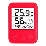 YUZI Thermometer, Wetterstation mit Temperatur- und Luftfeuchtigkeitsmesser, LCD-Display, digitale Wanduhr
