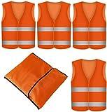 Warnweste Orange 4 Stück mit Tasche - Waschbar - 360 Grad Reflektierende Sicherheitsw