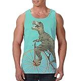 Herren Tank Top Muscle Tees Cool Shirts Hawaii Beach Vest Bodybuilding Singlet Gr. XL, Dinosaurier Fahrrad Tyrannosaurus Rex Radfahren schwarz
