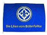 Sportverein SV Darmstadt 98 Fahne - Flagge - Die Lilien vom Böllerfalltor - 150x100cm - Lizenzproduk