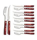Tramontina 29899/219 Steakbesteck, Pizzabesteck, Set 12 teilig, Edelstahl AISI 420, roter Echtholzgriff