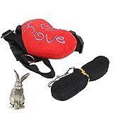 01 Brustgurt, Kaninchengeschirr aus hochwertigem Nylon Hochwertige Edelstahl-Metallschnalle garantiert Langlebigkeit beim Gehen für Haustiere(Red Heart, M)