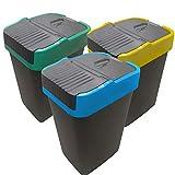 Recycling Behälter | 3 Schwingdeckel-Mülleimer zur Mülltrennung | EUROXANTY Haushaltsartikel | 18 L