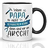 Kaffeebecher24 - Tasse mit Spruch - Wenn Papa es Nicht reparieren kann - Spülmaschinenfest Geschenke für Papa - Tasse lustig - Geburtstagsgeschenk für Männer (Schwarz-Blau)