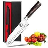 imarku Santoku Messer ,17 cm Küchenmesser Ultrascharfes Asiatisches Messer Japanisches Kochmesser Sushi Messer- Deutsches HC Edelstahl 7Cr17Mov Allzweck Messer mit Ergonomic Pakkawood Griff