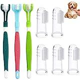 8 Stück Hund Zahnbürste,Hundezahnbürste Finger,Haustier Zahnbürste,Zahnbürsten für Hunde,Pet zahnbürste,Dreifachkopf Zahnbürste für kleine Haustierkatzen und Hunde