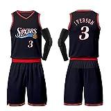 XZM Jungen Fan Basketball Kleidung Philadelphia 76ers Nr. 3 Allen Iverson Fan Basketball Kleidung, Herren Basketball Weste Hemd Basketball Kleidung-Black-M