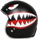 XWW Motorrad Retro Jet Helm, DOT Approved Adult Vintage Helm Fliegerhelm Motorrad Damen und Herren Helm Vespa Motorrad Chopper, M-XL (54-63CM)