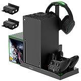 FASTSNAIL 5-in-1 Vertical Ständer für Xbox Series X, Lüfter kühler für Xbox Series X mit wiederaufladbar 2x1400 mAh Akkus, Controller Ladestation, Spiele Discs aufbewahrung und Headset Halterung