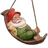 TERESA'S COLLECTIONS 18cm Liegender Zwerg mit Hängematte Kunstharz Gartenfigur für außen Wasserdicht Harz Figuren Dekoration