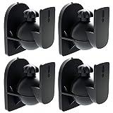 deleyCON 4X Universal Lautsprecher Wandhalterung Halterung Boxen Halter Schwenkbar + Neigbar bis 3,5Kg Deckenmontage + Wandmontage - Schwarz