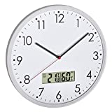 TFA Dostmann Analoge Wanduhr mit digitalem Thermometer und Hygrometer, zur Raumklimakontrolle, Glass, transparent, L310 x B55 x H340