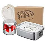 Premium Edelstahl Brotdose 1.2L Auslaufsicher, Lunch box with Trenner, Brotzeitbox Schule Kindergarten,Vesperdose Inklusive Griff, Bento Box Mit Suppenschüssel für Schule, Arbeit, Camping