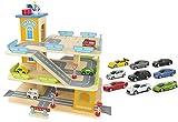 Leomark Große Parkgarage aus Holz - Stabil Parkhaus - Garage mit Zubehör, Spielgarage mit einem Lift, Hubschrauber, Holzgarage mit 9 Metallautos + LED- Band kostenlos