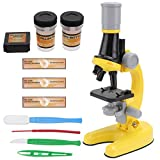 VILLCASE 1Set Kinder Mikroskop Spielzeug Studenten 1200X Wissenschaft Experiment Werkzeug Gelb für Kinder (Zubehör mit Gelegentliche Farbe)