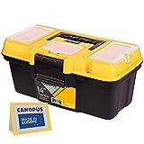 CANOPUS Werkzeugkasten aus Kunststoff, 35,6 cm, tragbar, Werkzeug-Organizer mit zusätzlicher Ablage für Heimwerkzeuge, Nägel und Pins, schwarz-gelb