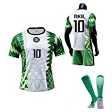 CFJJH Herren Football Trikot 2021 Nigeria Home Jersey Lghalo 9 Mikel 10 Lwobi 18 Awaziem 20 Fans Jersey, Fussball Spiel Trikots, Top Shirt Shorts Socken, Sportwear Number 10-L