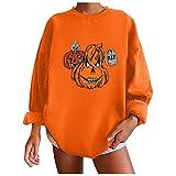 Damen Halloween Kürbis Langarm Sweatshirt, Halloween Kürbis Frauen Tops, Langarm Sweatshirts, Rundhals Pullover für Herbst & Winter, Orange, 36