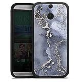 DeinDesign Silikon Hülle kompatibel mit HTC One M8 Case schwarz Handyhülle Farbe Silber Blau