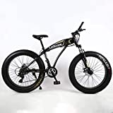 FDSAD Fat Tire Adult Mountainbike, leichte Cruiser-Bikes mit hohem Kohlenstoffgehalt, Beach Snowmobile Herrenfahrrad, Doppelscheibenbremse 26-Zoll-Räder,Schwarz,24speed