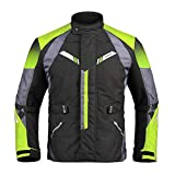 Sportinents Männer Motorradjacke + Motorradhose wasserdichte Jacke Protektoren Rüstung Motorrad Kleidung Set 206 Green Jacket M