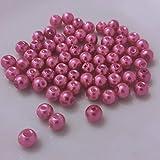 (8 mm/Pink) Glasperlen - Bastelperlen aus Glas rund - 30 Farben mit Loch Perlen zum Basteln auffädeln Armbänder Traumfänger bunt Set DIY Mini kleine große Kinder Bastelperlen Schmuck