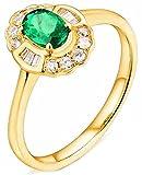 AmDxD Ring Hochzeitstag 18k Gelbgold, Blumen 0.5ct Oval Grün Smaragd mit 0.35ct Diamant Damenringe, Frauen, Gold, Gr.62 (19.7)