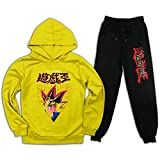 Yu-Gi-Oh Kinder Trainingsanzug Kapuzen-Sweatshirts Outfit 2 Stück Hoodies Top und Sweatpants Anzug für Jugendliche Jungen Mädchen Gr. XL, gelb / schwarz