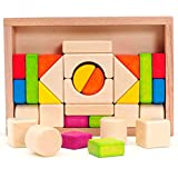 Atrumly Bunte Holzbausteine Set Montessori Holzklötze Kinder frühes Lernspielzeug