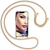 mtb more energy® Handykette kompatibel mit Motorola Moto G10, Moto G30 (6.5'') - beige/Gold - Smartphone Hülle zum Umhängen - Anti Shock Full TPU Case