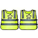Migimi Fun-Warnweste für Kinder, 2 Stück Kinder Warnwesten Sicherheitsweste,360 Grad Reflektierende, Reflektorweste Running, Laufweste Jungs Mädchen Leicht Elastisch Laufweste zur Schule Gehen