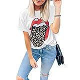 Kurzarm Damen T-Shirt Persönlichkeit Mode Sommer Rundhals Damen Tops Einzigartig Sexy Rote Lippen Leopards Design Täglich Lässig Licht Atmungsaktiv All-Match Damen Bluse C-White L